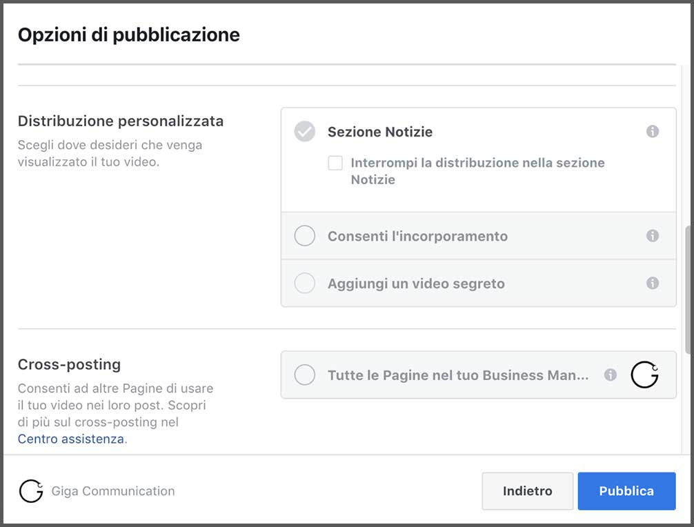 distribuzione video facebook